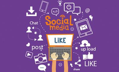 getekende computer, icoontjes, social media, post, chat, upload.